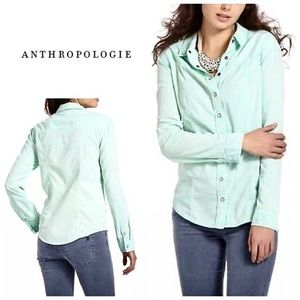 Anthropologie mint corduroy snap down shirt